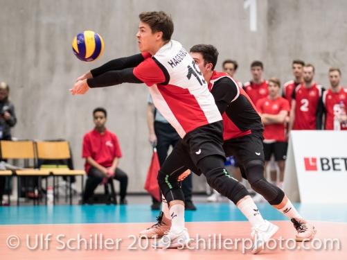 HAGENBUCH Etienne (Suisse, #19) Volleyball European Championship Qualification Men Switzerland vs Ukraine on January 9, 2019 at Betoncoupe Arena in Schoenenwerd (Switzerland).