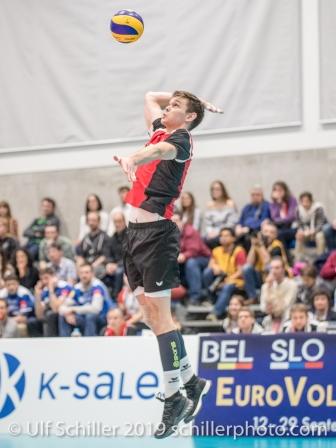 BRAENDLI Thomas (Suisse, #17) Volleyball European Championship Qualification Men Switzerland vs Ukraine on January 9, 2019 at Betoncoupe Arena in Schoenenwerd (Switzerland).