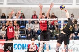 ULRICH Luca (Suisse, #10) und EHRAT Samuel (Suisse, #14) beim Blockversuch Volleyball European Championship Qualification Men Switzerland vs Ukraine on January 9, 2019 at Betoncoupe Arena in Schoenenwerd (Switzerland).