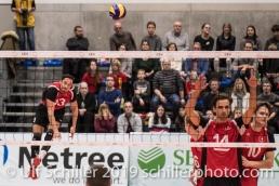 ROOS Joel (Suisse, #13) beim Aufschlag Volleyball European Championship Qualification Men Switzerland vs Ukraine on January 9, 2019 at Betoncoupe Arena in Schoenenwerd (Switzerland).