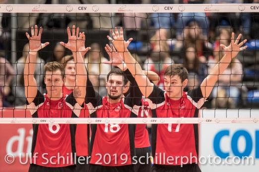 GIGER Reto (Suisse, #6), DJOKIC Jovan (Suisse, #18), BRAENDLI Thomas (Suisse, #17) Volleyball European Championship Qualification Men Switzerland vs Ukraine on January 9, 2019 at Betoncoupe Arena in Schoenenwerd (Switzerland).