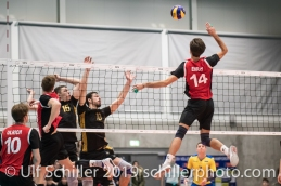 EHRAT Samuel (Suisse, #14) Volleyball European Championship Qualification Men Switzerland vs Ukraine on January 9, 2019 at Betoncoupe Arena in Schoenenwerd (Switzerland).