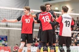 Punkt fuer die Schweiz Volleyball European Championship Qualification Men Switzerland vs Ukraine on January 9, 2019 at Betoncoupe Arena in Schoenenwerd (Switzerland).