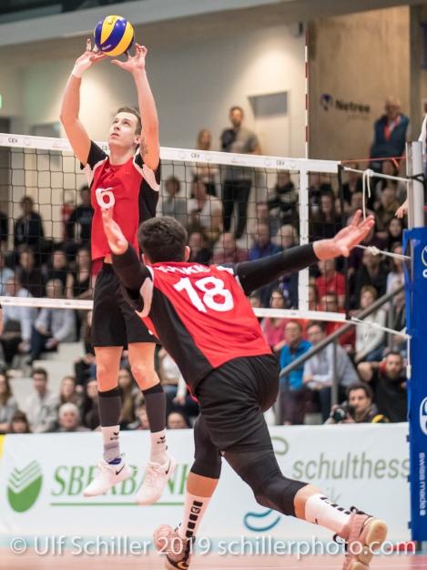 GIGER Reto (Suisse, #6) beim Zuspiel Volleyball European Championship Qualification Men Switzerland vs Ukraine on January 9, 2019 at Betoncoupe Arena in Schoenenwerd (Switzerland).