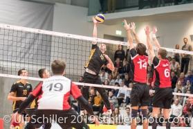 EHRAT Samuel (Suisse, #14) und GIGER Reto (Suisse, #6) beim Block Volleyball European Championship Qualification Men Switzerland vs Ukraine on January 9, 2019 at Betoncoupe Arena in Schoenenwerd (Switzerland).