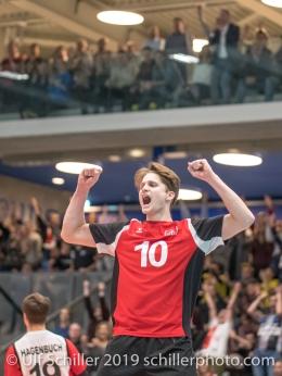 ULRICH Luca (Suisse, #10) Volleyball European Championship Qualification Men Switzerland vs Ukraine on January 9, 2019 at Betoncoupe Arena in Schoenenwerd (Switzerland).