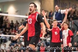 ROOS Joel (Suisse, #13) jubelt nach Gewinn des zweiten Satzes Volleyball European Championship Qualification Men Switzerland vs Ukraine on January 9, 2019 at Betoncoupe Arena in Schoenenwerd (Switzerland).