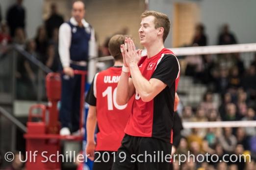 GIGER Reto (Suisse, #6) Volleyball European Championship Qualification Men Switzerland vs Ukraine on January 9, 2019 at Betoncoupe Arena in Schoenenwerd (Switzerland).