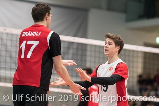 HAGENBUCH Etienne (Suisse, #19) und BRAENDLI Thomas (Suisse, #17) Volleyball European Championship Qualification Men Switzerland vs Ukraine on January 9, 2019 at Betoncoupe Arena in Schoenenwerd (Switzerland).