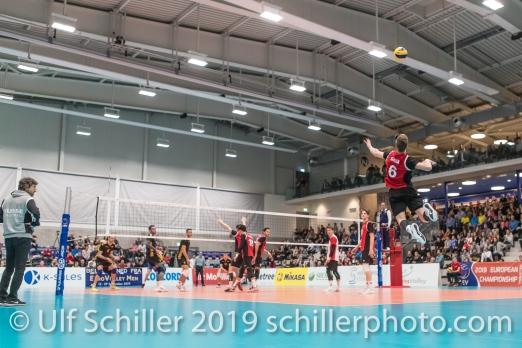 Aufschlag GIGER Reto (Suisse, #6) Volleyball European Championship Qualification Men Switzerland vs Ukraine on January 9, 2019 at Betoncoupe Arena in Schoenenwerd (Switzerland).
