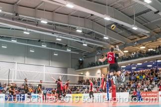 Aufschlag von GIGER Reto (Suisse, #6) in der Betoncoupe Arena in Schoenenwerd Volleyball European Championship Qualification Men Switzerland vs Ukraine on January 9, 2019 at Betoncoupe Arena in Schoenenwerd (Switzerland).