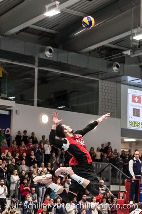 DJOKIC Jovan (Suisse, #18) Volleyball European Championship Qualification Men Switzerland vs Ukraine on January 9, 2019 at Betoncoupe Arena in Schoenenwerd (Switzerland).