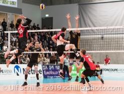 GIGER Reto (Suisse, #6) passes to DJOKIC Jovan (Suisse, #18) Volleyball European Championship Qualification Men Switzerland vs Ukraine on January 9, 2019 at Betoncoupe Arena in Schoenenwerd (Switzerland).