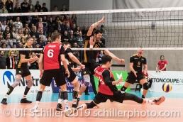 DJOKIC Jovan (Suisse, #18) tries to save the impossible Volleyball European Championship Qualification Men Switzerland vs Ukraine on January 9, 2019 at Betoncoupe Arena in Schoenenwerd (Switzerland).
