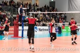 Der Moment der Niederlage: im Vordergrund DJOKIC Jovan (Suisse, #18) Volleyball European Championship Qualification Men Switzerland vs Ukraine on January 9, 2019 at Betoncoupe Arena in Schoenenwerd (Switzerland).