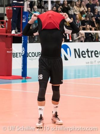 DJOKIC Jovan (Suisse, #18) after the defeat Volleyball European Championship Qualification Men Switzerland vs Ukraine on January 9, 2019 at Betoncoupe Arena in Schoenenwerd (Switzerland).