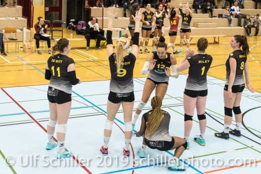 Starting six Geneve Volley Volleyball Mobiliar Cup 2019 Women TS Volley Duedingen x Geneve Volley on January 13, 2019 at Sportanlage Leimacker in Duedingen (Switzerland).