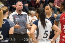 Dario Bettello (Volley Duedingen, Headcoach) getting a litte impatient during a time out in the third set. Volleyball Mobiliar Cup 2019 Women TS Volley Duedingen x Geneve Volley on January 13, 2019 at Sportanlage Leimacker in Duedingen (Switzerland).
