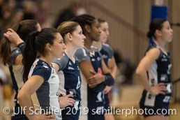Powercats after time out Volleyball Mobiliar Cup 2019 Women TS Volley Duedingen x Geneve Volley on January 13, 2019 at Sportanlage Leimacker in Duedingen (Switzerland).