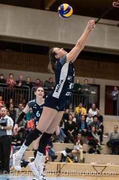 Kerley Becker (Volley Duedingen #2) plays perfect defence Volleyball Mobiliar Cup 2019 Women TS Volley Duedingen x Geneve Volley on January 13, 2019 at Sportanlage Leimacker in Duedingen (Switzerland).