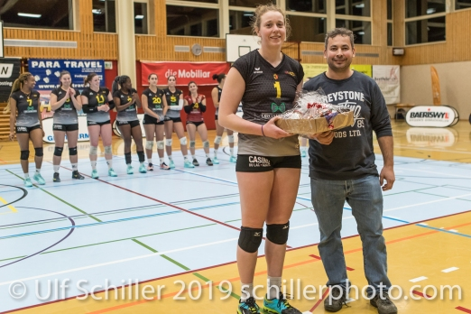 RILEY Margaret (Geneve Volley #1) gets MVP award Volleyball Mobiliar Cup 2019 Women TS Volley Duedingen x Geneve Volley on January 13, 2019 at Sportanlage Leimacker in Duedingen (Switzerland).