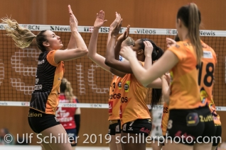 Start Match Tia Scambray (Viteos NUC #16); Volleyball NLA 2018-19 Playoffs 1/2 Final Game 2 NUC UC vs TS Volley Duedingen on April, 04, 2019 in Neuchatel (Switzerland).