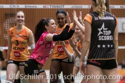 Tabea Dailliard (Viteos NUC #9) before the match; Volleyball NLA 2018-19 Playoffs 1/2 Final Game 2 NUC UC vs TS Volley Duedingen on April, 04, 2019 in Neuchatel (Switzerland).