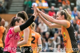 Tabea Dailliard (Viteos NUC #9) and Tia Scambray (Viteos NUC #16); Volleyball NLA 2018-19 Playoffs 1/2 Final Game 2 NUC UC vs TS Volley Duedingen on April, 04, 2019 in Neuchatel (Switzerland).