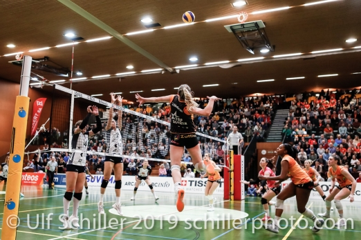 Tia Scambray (Viteos NUC #16) in action; Volleyball NLA 2018-19 Playoffs 1/2 Final Game 2 NUC UC vs TS Volley Duedingen on April, 04, 2019 in Neuchatel (Switzerland).