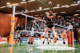 Tia Scambray (Viteos NUC #16); Volleyball NLA 2018-19 Playoffs 1/2 Final Game 2 NUC UC vs TS Volley Duedingen on April, 04, 2019 in Neuchatel (Switzerland).