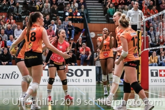 Viteos NUC after point win; Volleyball NLA 2018-19 Playoffs 1/2 Final Game 2 NUC UC vs TS Volley Duedingen on April, 04, 2019 in Neuchatel (Switzerland).