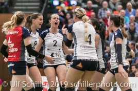 Point for Volley Duedingen with Kristel Marbach (Volley Duedingen #9) and Kerley Becker (Volley Duedingen #2) (center); Volleyball NLA 2018-19 Playoffs 1/2 Final Game 2 NUC UC vs TS Volley Duedingen on April, 04, 2019 in Neuchatel (Switzerland).