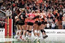 Matchball / Balle de Match pour Viteos NUC; Volleyball NLA 2018-19 Playoffs 1/2 Final Game 2 NUC UC vs TS Volley Duedingen on April, 04, 2019 in Neuchatel (Switzerland).