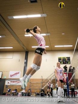 Livia Zaugg (Sm'Aesch Pfeffingen #3); Volleyball NLA 2018-19 Playoffs Final Game 1 Sm'Aesch Pfeffingen vs NUC UC on April, 11, 2019 in Aesch (Switzerland).