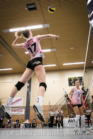 Annalea Maeder (Sm'Aesch Pfeffingen #17) Volleyball NLA 2018-19 Playoffs Final Game 1 Sm'Aesch Pfeffingen vs NUC UC on April, 11, 2019 in Aesch (Switzerland).