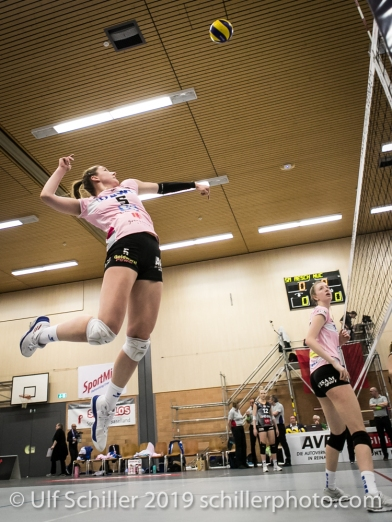 Monika Chrtianska (Sm'Aesch Pfeffingen #5) Volleyball NLA 2018-19 Playoffs Final Game 1 Sm'Aesch Pfeffingen vs NUC UC on April, 11, 2019 in Aesch (Switzerland).