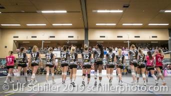 Viteos NUC before the match Volleyball NLA 2018-19 Playoffs Final Game 1 Sm'Aesch Pfeffingen vs NUC UC on April, 11, 2019 in Aesch (Switzerland).