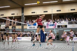 Dora Grozer (Sm'Aesch Pfeffingen #9); Volleyball NLA 2018-19 Playoffs Final Game 1 Sm'Aesch Pfeffingen vs NUC UC on April, 11, 2019 in Aesch (Switzerland).