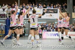 Jubel bei Sm'Aesch Pfeffingen Volleyball NLA 2018-19 Playoffs Final Game 1 Sm'Aesch Pfeffingen vs NUC UC on April, 11, 2019 in Aesch (Switzerland).