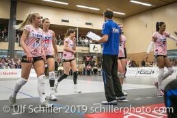 Auszeit Sm'Aesch Pfeffingen; Volleyball NLA 2018-19 Playoffs Final Game 1 Sm'Aesch Pfeffingen vs NUC UC on April, 11, 2019 in Aesch (Switzerland).