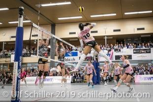 Jessica Ventura (Sm'Aesch Pfeffingen #10); Volleyball NLA 2018-19 Playoffs Final Game 1 Sm'Aesch Pfeffingen vs NUC UC on April, 11, 2019 in Aesch (Switzerland).