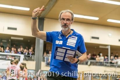 Andreas Vollmer (Headcoach Sm'Aesch Pfeffingen); Volleyball NLA 2018-19 Playoffs Final Game 1 Sm'Aesch Pfeffingen vs NUC UC on April, 11, 2019 in Aesch (Switzerland).
