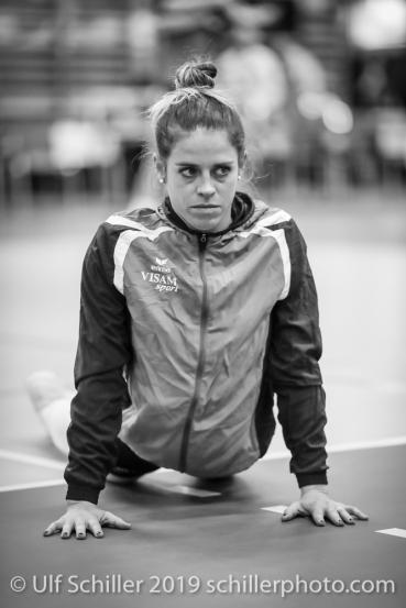 Kristen Tupac (Sm'Aesch Pfeffingen #1) vor dem Match; Volleyball NLA 2018-19 Playoffs Final Game 1 Sm'Aesch Pfeffingen vs NUC UC on April, 11, 2019 in Aesch (Switzerland).