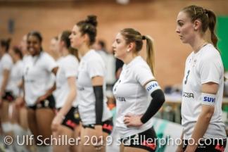 Viteos NUC mit Martina Halter (Viteos NUC #3); Volleyball NLA 2018-19 Playoffs Final Game 1 Sm'Aesch Pfeffingen vs NUC UC on April, 11, 2019 in Aesch (Switzerland).