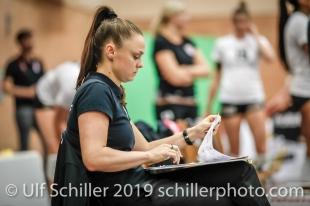 Lauren Bertolacci (Viteos NUC, Headcoach); Volleyball NLA 2018-19 Playoffs Final Game 1 Sm'Aesch Pfeffingen vs NUC UC on April, 11, 2019 in Aesch (Switzerland).