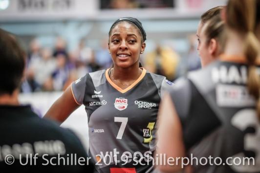 Kyra Holt (Viteos NUC #7); Volleyball NLA 2018-19 Playoffs Final Game 1 Sm'Aesch Pfeffingen vs NUC UC on April, 11, 2019 in Aesch (Switzerland).