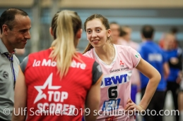 Madlaina Matter (Sm'Aesch Pfeffingen #6) and Tia Scambray (Viteos NUC #16) before the match; Volleyball NLA 2018-19 Playoffs Final Game 1 Sm'Aesch Pfeffingen vs NUC UC on April, 11, 2019 in Aesch (Switzerland).
