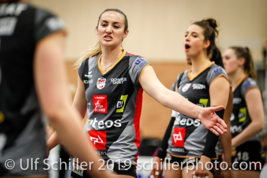 Tia Scambray (Viteos NUC #16) before the match; Volleyball NLA 2018-19 Playoffs Final Game 1 Sm'Aesch Pfeffingen vs NUC UC on April, 11, 2019 in Aesch (Switzerland).