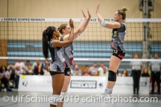 Sarah Troesch (Viteos NUC #12) before the match; Volleyball NLA 2018-19 Playoffs Final Game 1 Sm'Aesch Pfeffingen vs NUC UC on April, 11, 2019 in Aesch (Switzerland).