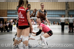 Tabea Dailliard (Viteos NUC #9) before the match; Volleyball NLA 2018-19 Playoffs Final Game 1 Sm'Aesch Pfeffingen vs NUC UC on April, 11, 2019 in Aesch (Switzerland).